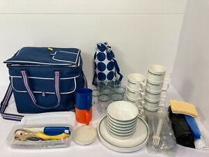 Melamine Picnic Camping Set Bundle in Polar Gear Navy Blue Cool Bag Holdall  Z9