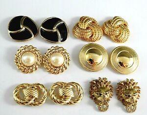 6 Vintage Dress Shoe Clip Jewelry Accessories Clips Gold Tone Lot Pearl Enamel W