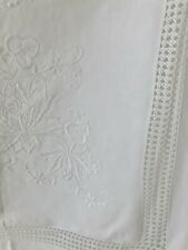 Vintage French cotton embroidered TABLECLOTH FILET LACE openworks c1930