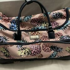 Jessica Simpson Pineapple Collection Lightweight Rolling Duffel Bag Pink Stripes