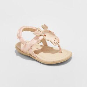 Genuine Kids by OshKosh Toddler Girl Ezra Giraffe Thong Sandal Rose Gold