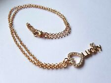 """LUCKY"" KEY CHARM NECKLACE WITH RHINESTONE HEARTS GOLD PLATED CHAIN"