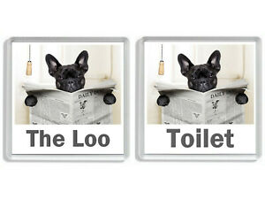 FRENCH BULLDOG READING A NEWSPAPER ON THE LOO Novelty Toilet Door Signs