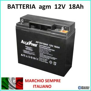 batteria al piombo 12V 18ah allarmi ups jump start come FIAMM FG21803 17Ah 20ah