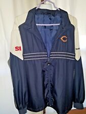 NFL Chicago Bears Sz 2XL Si Navy Blue Gray Full Zip Polyester Windbreaker REEBOK