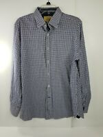 Daniel Cremieux L Casual Dress Shirt Button Front Oxford Blue White Long Sleeve