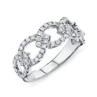 Diamond Link Ring 14K White Gold Cocktail Right Hand Womens Natural Round Size 7