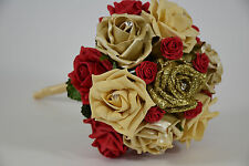 Gold and Red Rose Wedding Bouquet with Satin Ribbon - Bride and Bridesmaid