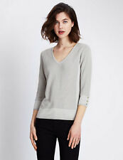 Marks & Spencer Per Una Silver Grey Knit Three Quarter Sleeve Jumper 22 Eu 50 XL