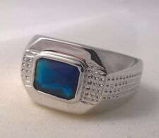 G-Filled Men's 18ct white gold simulated sapphire ring blue rectangle dotted new
