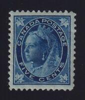 Canada Sc #70 (1897) 5c dark blue on blue Maple Leaf Mint VF LH