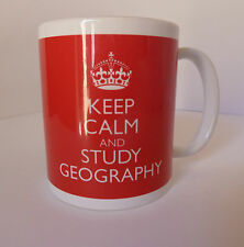 New Keep Calm and Study Geography Mug Cup Gift Carry On Retro Cool Britannia