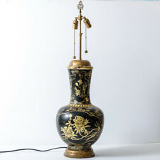 Antique Chinoiserie Papier Mache Lacquered Urn Lamp With Gold Floral Motif