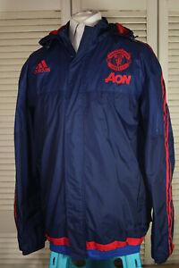 Manchester United Adidas climastorm waterproof navy striped jacket Size: Large