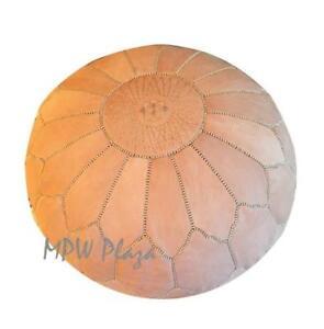 MPW Plaza Pouf, Arch Shell, Natural, Jumbo, Moroccan Leather Ottoman (Un-Stuffed