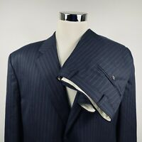 Chaps Mens 48R Suit 38 x 31 Pleated Black Pinstriped 100% Wool Two Button Vented