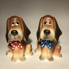 Vtg Brown Dog Salt & Pepper Shaker Set Polka Dot Bow Big Eyes Ceramic Japan W26