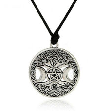 Vintage Pentagram Triple Moon Magic Pendant Goddess Tree Of Life Necklace Unisex