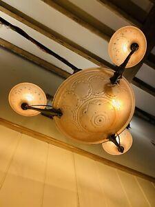Antique Art Deco Glass & Brass Chandelier Light by Muller Freres 1930's
