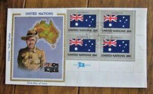 AUSTRALIA FLAG MAP COSTUME STAMP BLOCK 1981 COLORANO SILK CACHET FDC VF UNADDR