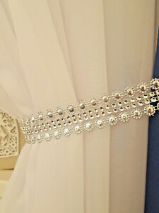 New Model!!! Silver 2x Diamante Crystal Tie Backs -  Curtains & Voiles 75 cm