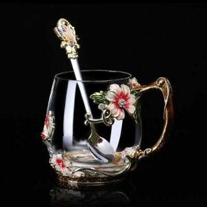 Modern Handgrip Enamel Coffee Cup Mug Flower Tea Glass for Hot and Cold Gift