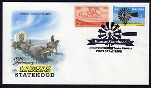 2011 Kansas Statehood 150th (4493) - Artcraft Pictorial H/C COMBO FDC PX106