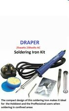 Draper Soldering Iron Kit with Straight & Bent tips, Solder & Stand 230V 25W