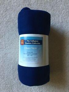 """NEW* Blue Fleece Throw Blanket 48"""" x 60"""" Non Allergy *RHL Residence Hall Linens"""