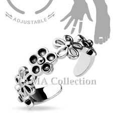 FAMA Adjustable Toe Ring / Mid Ring Linked 5 Petal Flowers
