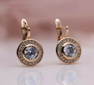 18K ROSE GOLD FILLED CIRCLE HOOP EARRINGS MADE WITH SWAROVSKI CRYSTALS GIFT GF52
