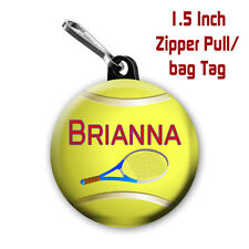 Two Tennis Zipper Pull/Bag Tags Personalized with Name of  Choice 1.5 Inch Charm