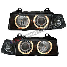 2 FEUX PHARE AVANT ANGEL EYES BMW SERIE 3 E36 BERLINE + CLIGNOTANTS ASSORTIE