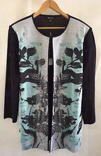 NWOT Misook White/Black/Blue Top Closure Heritage Fit Jacket/ Sweater Medium