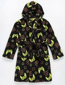 Boys Girls Kids GAMING SOFT FLEECE HOODED DRESSING GOWN Ages 6-9