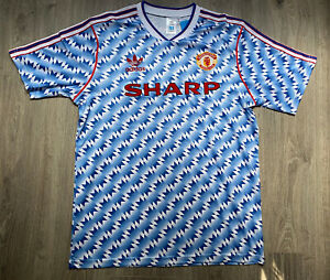 Manchester United 1990-1992 Blue Away Football Jersey Shirt UK LARGE
