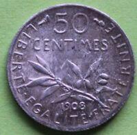 FRANCE 50 CENTIMES SEMEUSE 1908
