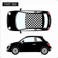 FIAT 500 damier carreaux toit personnalisé Autocollants voiture vinyle graphique