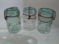 Lot of 3  Pint Vintage Atlas Blue Pint Jars With Glass Lids Hinge Top