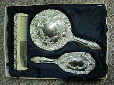 Vintage Silver Plated 3 Piece Comb Brush Mirror Vanity Dresser Set Original Box