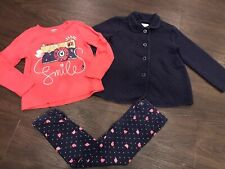 Gymboree Girls 4/5 5T Navy Button Coat Ladybug Smile Outfit EUC
