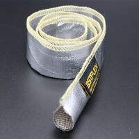 """Metallic Heat Shield Sleeve Insulated Wire Hose Cover Wrap Loom Tube 2"""" 10 Ft"""