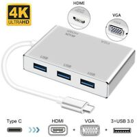Type C to HDMI 4K USB 3.0 HUB VGA Cable Video Adapter For Apple Macbook to HD TV