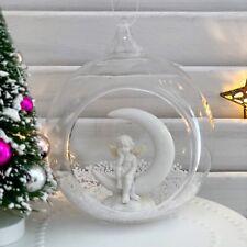 GLASS OPEN BAUBLE CHERUB ANGEL HANGING CHRISTMAS TREE DECORATION XMAS ORNAMENT