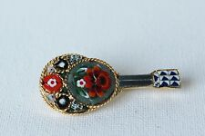 Vintage Gold Tone Floral Micro Mosaic Guitar Banjo Brooch Pin Marked Italy