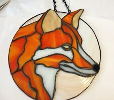 Stained Glass Red Fox Suncatcher Panel Window Tiffany Style