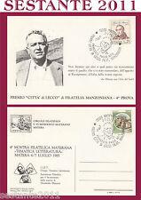 ITALIA MAXIMUM MAXI CARD 1985 PREMIO CITTà LECCO FILATELIA MANZONIANA NITTI (589