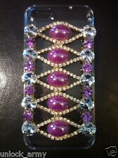 3D The Eyes Purple Swarovski Crystal Bling Case Handmade iPhone 5 5S Hard Cover