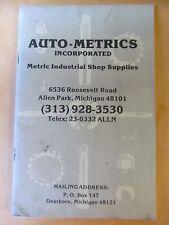 AUTO-METRICS INCORPERATED METRIC INDUSTRIAL SHOP SUPPLIES  BOOKLET