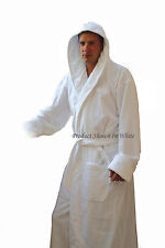 "Men's White Hooded Terry Spa Bathrobe - 48"" Length 100% Cotton"